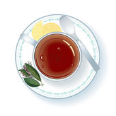 Cup with Hot Black Tea Illustration — Stock Photo