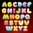 Candy Alphabet. Multicolored Shiny Vector Letters — Stock Vector