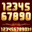 Golden Alphabet. Set of Metallic Numbers Vector - Stock Vector
