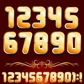 Golden Alphabet. Set of Metallic Numbers Vector — Stock Vector