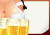 Poster with Oktoberfest Girl. Beer Fest Vector — Stock Vector