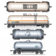 Isolated Railroad Oil Tanks. Illustration - Foto Stock