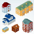 Stock Photo: Set of Isolated Isometric Buildings.