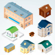Isometric House and Buildings - Stock Photo