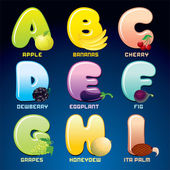 Fruits And Berries In Alphabetical Order. — Stock Photo