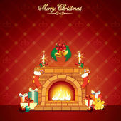 Wonderful Christmas Interior with Fireplace — Stock Photo