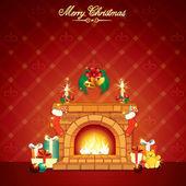 Wonderful Christmas Interior with Fireplace — Stock Photo