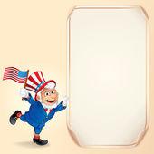 Cartoon Uncle Sam with USA Flag. Background — Stock Photo