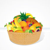 Delicious Fruit Basket. Cartoon Illustration — Stock Photo