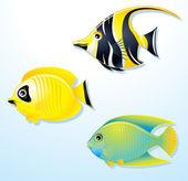 Ilustraciones de lindos peces tropicales — Foto de Stock