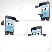 Conjunto de divertidos dibujos animados teléfono inteligente. imagen prediseñada — Foto de Stock