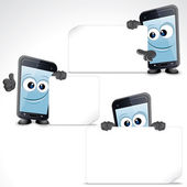 Menge lustige cartoon-smartphone. clipart — Stockfoto
