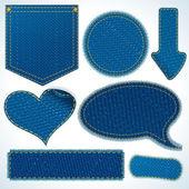Elementos de pano de calça jeans. objetos isolados no branco — Foto Stock