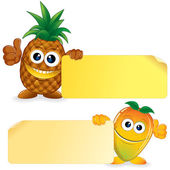 Pineapple with Mango. Cartoon Illustration — Stock Photo