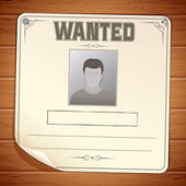 Wanted Poster on Wooden Wall Template — Stock Photo