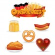 Oktoberfest eten en drinken pictogrammen. Vector illustraties — Stockvector