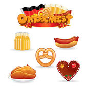 Oktoberfest Food and Drink Icons. Vector Clip Art — Stock Vector