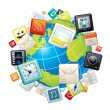 Icons Flying Around Globe. Illustration - Stock Photo