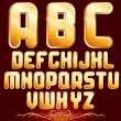 Golden Alphabet. Set of Metallic Letters. - Foto de Stock