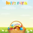 Wicker Basket with Colorful Eggs on Spring Meadow — Stock Photo