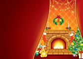 Festive Fireplace and Santa's Gifts . — Stock Photo