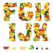 Colorful Letters from Fruit and Berries. Clip Art — Foto de Stock