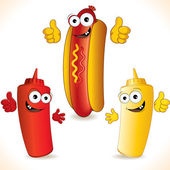 Smiling Cartoon Hot Dog with friends — Foto Stock