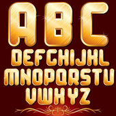 Golden Alphabet. Set of Metallic Letters. — Stock Photo