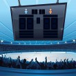 Hockey Stadium. Background with Empty Scoreboard - Stock Photo