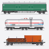 Set of Rail Freight Car, Train Waggons. — Stok fotoğraf