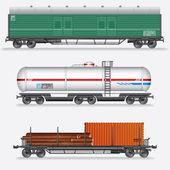 Set of Rail Freight Car, Train Waggons. — Stock Photo