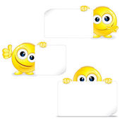Funny Smiley with Sign and Thumb Up. Vector — Stock Vector