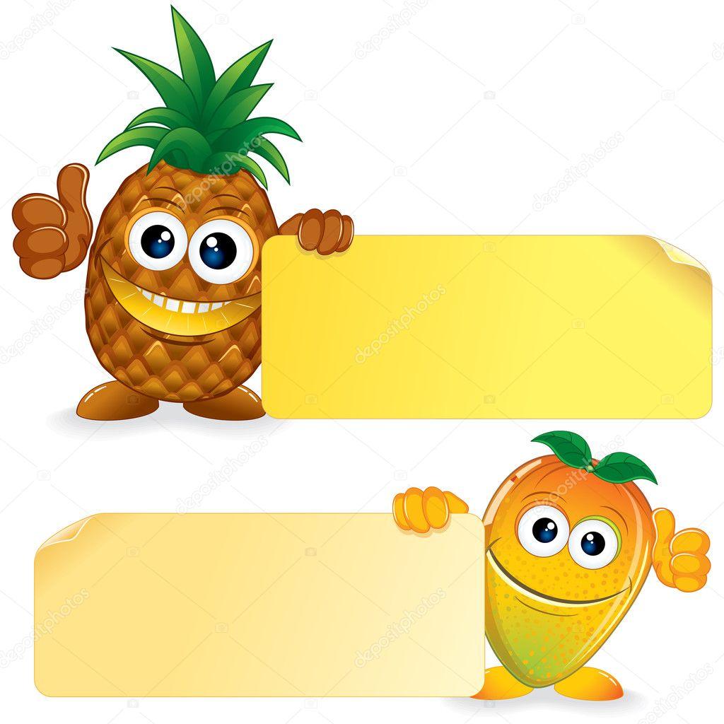 与芒果菠萝.矢量卡通插画