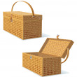 Foto Stock: Picnic Hamper with Lid. Detailed Illustration