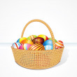 Big Easter Basket with Eggs. Illustration — Stock Photo