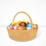 Big Easter Basket with Eggs. Illustration — Stock Photo