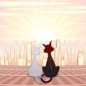 Two Cute Cats on Roof. Cartoon Illustration — Stock Photo