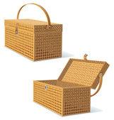 Cesto da picnic con coperchio. illustrazione dettagliata — Foto Stock