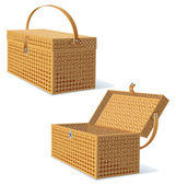 Picnic Hamper with Lid. Detailed Illustration — 图库照片