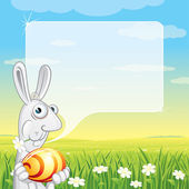 Easter Bunny with Speech Balloon for your text — Stock Photo