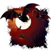 Halloween Illustration with Swarm Bats and Mansion — Stock Photo