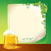 Mug of Beer and Poster. St. Patrick's Day Template — Stock Photo