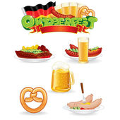 Oktoberfest Food and Drink Icons. Vector Graphics — Stock Vector