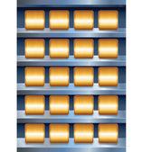 Vector metalen planken met lege gouden knoppen — Stockvector