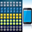 Smartphone with Set of Various Interface Buttons — Stock Photo #26198425