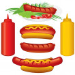 Stock Photo: Hot Dogs Set