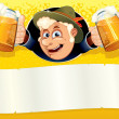 Oktoberfest Poster with Funny Brewer — Foto de Stock