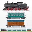Stock Photo: Retro Steam Lokomotive, Cargo and Passenger Waggon