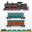 Retro Steam Lokomotive, Cargo and Passenger Waggon — Stock Photo