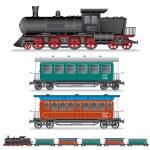 Illustration of Retro Steam Train with Coach Wagon — Stock Photo